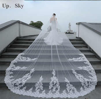 4 Meter White/Ivory One Layer Beautiful Cathedral Length Lace Edge Wedding Veil With Comb Long Bridal Veil  2019 - DISCOUNT ITEM  27% OFF All Category