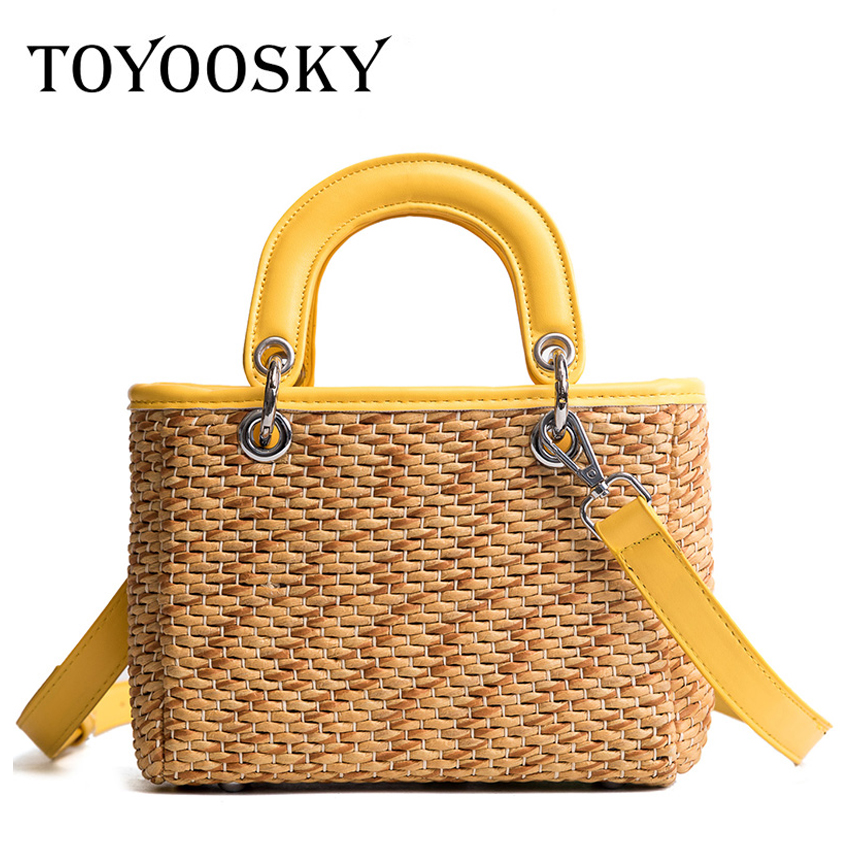 TOYOOSKY Beach Bag Straw Totes Bag Flap Women Handbag Braided 2018 New Arrivals High Quality Women Shoulder Bag for Summer