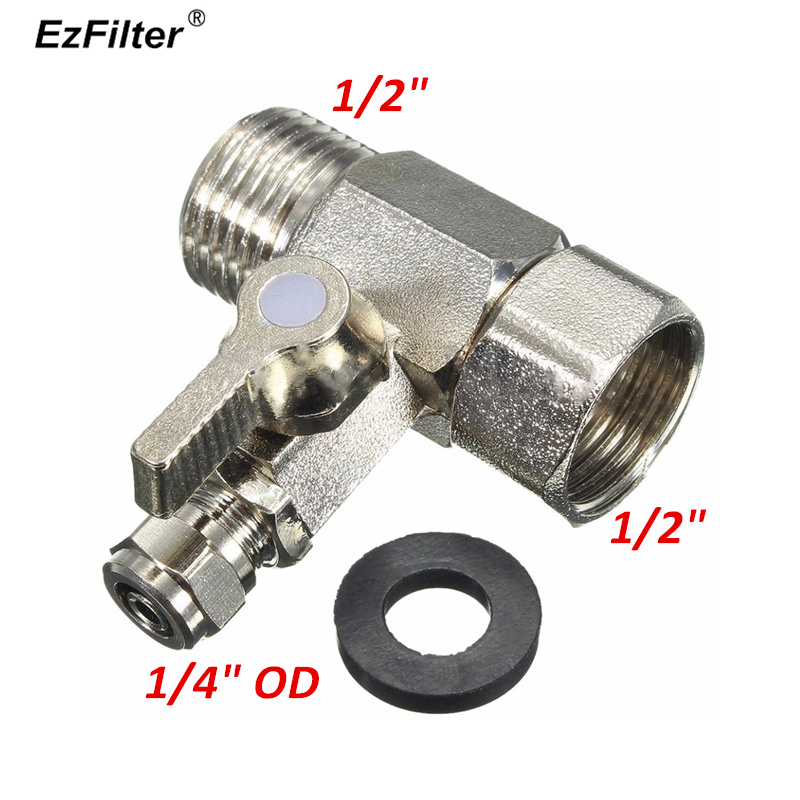 1/2 To 1/4 RO Feed Water Adapter Tee Ball Valve Faucet Shut Off Ball Valve Stainless Steel Fitting Connection RO Water Filter1/2 To 1/4 RO Feed Water Adapter Tee Ball Valve Faucet Shut Off Ball Valve Stainless Steel Fitting Connection RO Water Filter