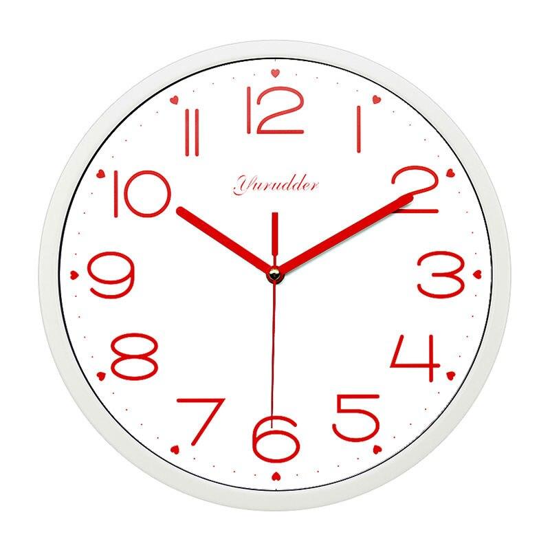 Date 12 pouces cadre en métal mode moderne doux coeur conception mains rouges dame amour horloge murale ronde décorative horloge murale