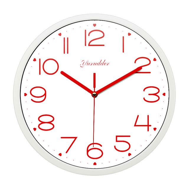 Newest 12 Inches Metal Frame Modern Fashion Sweet Heart Design Red Hands Lady Love Round Wall Clock Decorative Wall clock