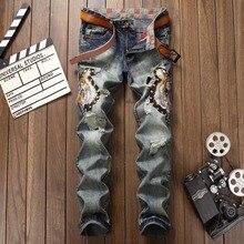 Mens Ripped jeans male new Runway slim jeans denim Biker Slim jeans hiphop pants Washed Printed Skull blue jeans for men