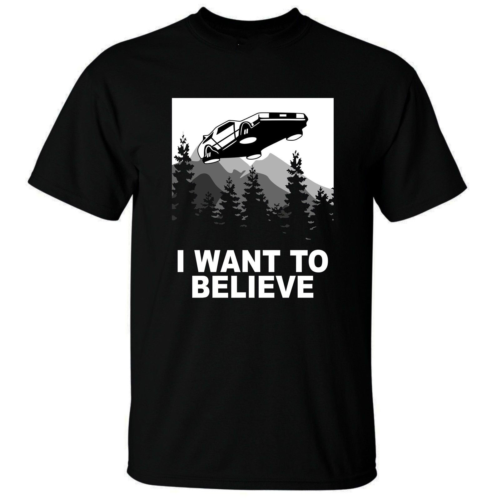 Gildan Mens I Want to Believe Future T-Shirt - Funny t shirt Sci Fi parody time travel