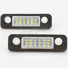 цена на 2pcs Car Number License Plate Lights Fit For Ford Fusion Fiesta Mondeo 12V White 18-LED Perfect Lamps