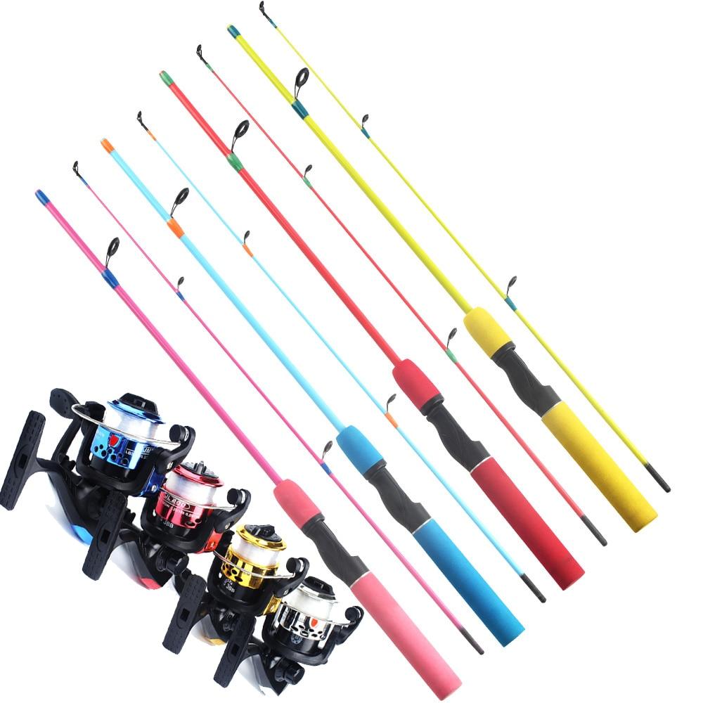 Beginner 4 Colors Fishing Rod Set 1.2m Spinning /Casting Ice Fishing Rod Winter Fishing Gear Children Fishing Rod Include Reel