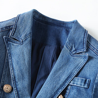 HIGH QUALITY New Fashion 2018 Designer Blazer Women's Metal Lion Buttons Double Breasted Denim Blazer Jacket Outer Coat 2
