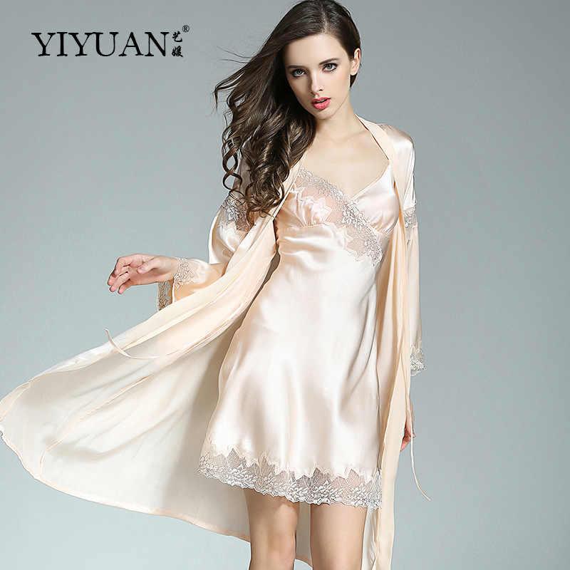 ...  Распродажа  100% натуральный шелк халаты женский из двух частей  тяжелый шелк купальный халат ... 296cb3686eab7