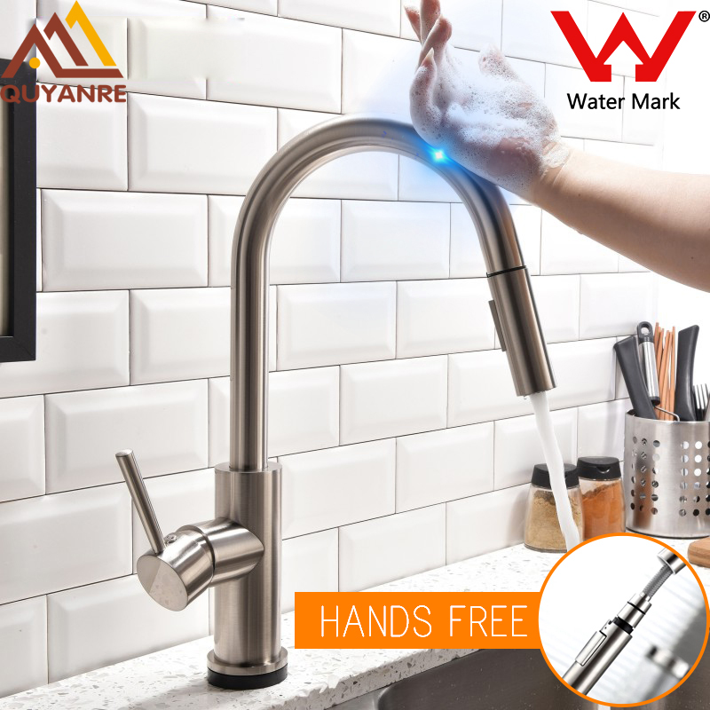 US $130.0 |Quyanre Lead free Stainless Steel Pull Out Sensor Kitchen Faucet  Sensitive Touch Control Faucet Mixer Touch Sensor Kitchen Tap-in Kitchen ...