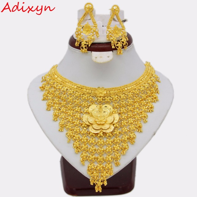 Adixyn Big Flowers Necklace/Earrings Jewelry Set For Women Gold Color/Copper Ethiopian Arabic India Wedding Gifts