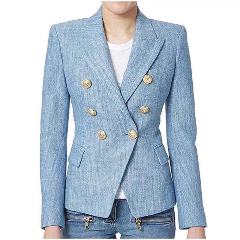 EXCELLENT QUALITY OL Career Blazer For Women Classic Double Breasted Lion Buttons Blazer Jacket Plus Size S-XXXL