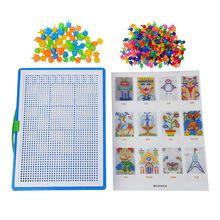 296 Mushroom Nail Intelligent 3D Puzzle Games DIY Plastic Flashboard Children Toys Educational Toy random color