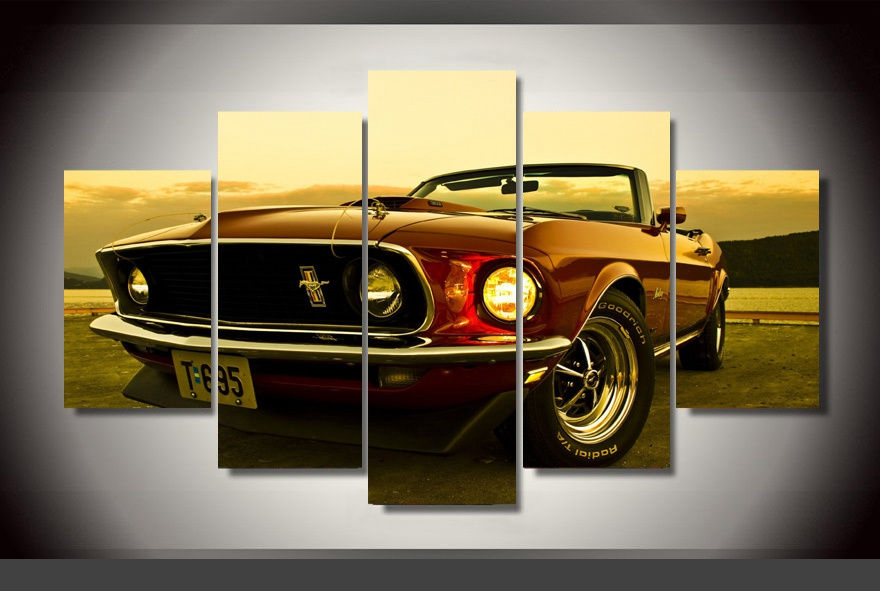 Modern Indoor Decor Original Z5 Ford Mustang car print decoration canvas in 5 pieces-in Painting ...