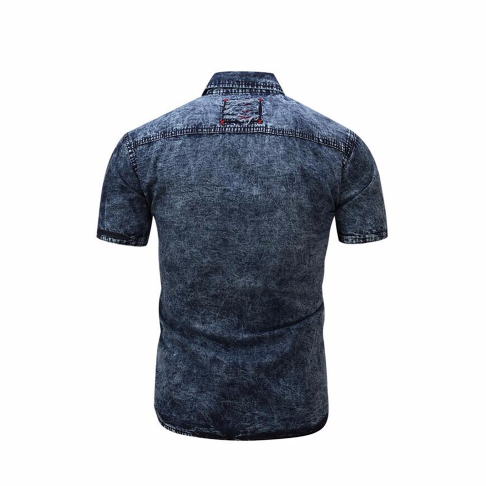 c9d6365b5b Mens Polo Shirt Cotton Button Down Short Sleeve Denim Polo Shirts Casual  Slim Fit Cowboy Pocket Shirts