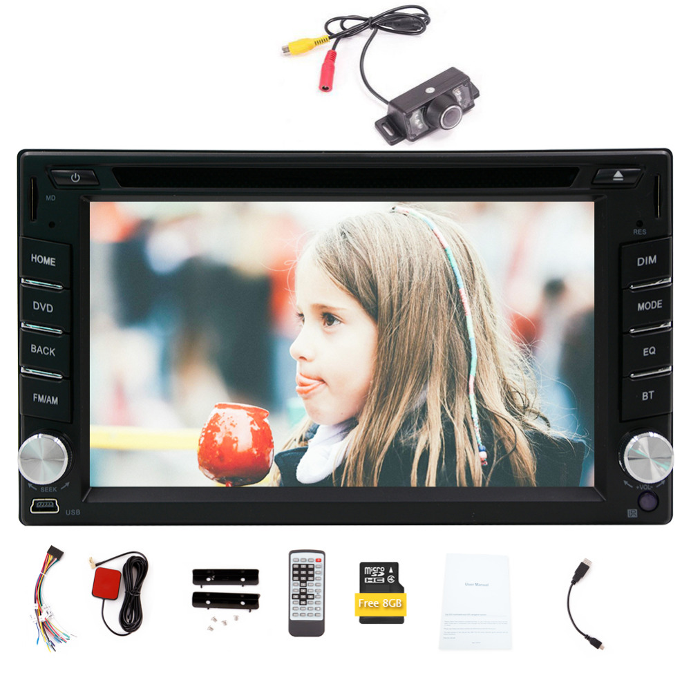 Camera 6.2'' 2din car audio Wince GPS Navigation Bluetooth car dvd player in dash FM AM RDS car radio Aux multimedia Car monitor joyous j 2611mx 7 touch screen double din car dvd player w gps ipod bluetooth fm am radio rds