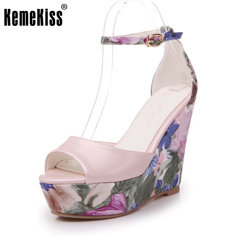 KemeKiss Ladies High Wedges Sandals Print Ankel Strap Summer Shoes Women Peep Toe Platform Beach Vacation Footwear Size 34-39 kemekiss size 33 42 women s high heel wedge shoes women cross strap platform pumps round toe casual mixed color ladies footwear