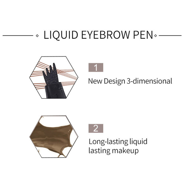 HANDAIYAN 1pc Eyebrow Pencil 4 Head Brush Waterproof Liquid Eyebrow Tattoo Pen Enhancer Tint 4 Color Makeup maquillaje TSLM2 3