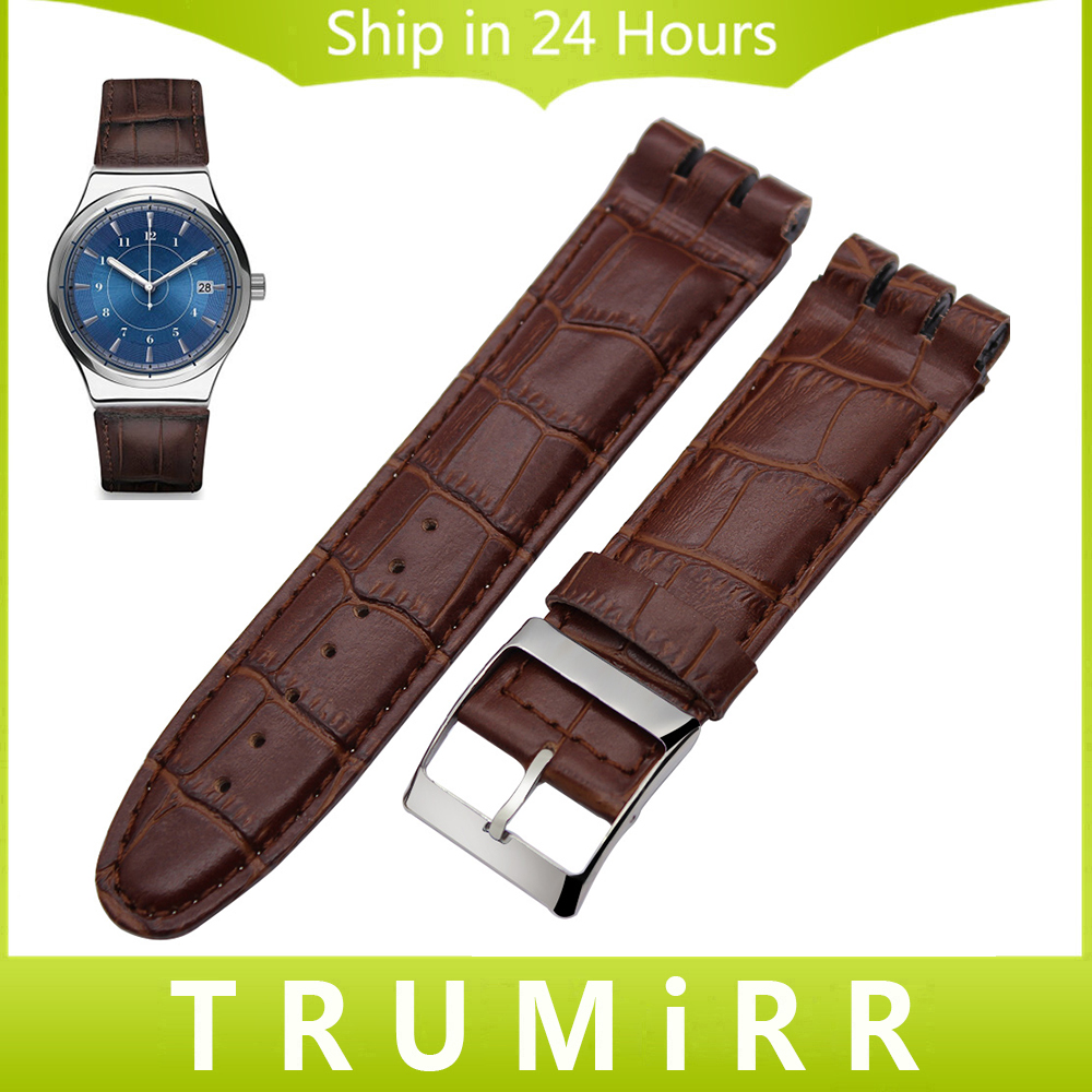 23mm Genuine Leather Watchband for Swatch YOS440 449 401G 447 448 Croco Grain Watch Band Steel Buckle Wrist Strap Black Brown high quality 17mm 19mm 23mm waterproof genuine leather watch strap band for swatch croco pattern black brown white