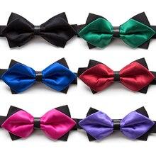 цена на Bowtie Fashion Solid Bow Tie Men Tie Necktie Adjustable Butterfly Double Deck Neckwear Luxurious Gift Bowtie Dress Shirt Ties