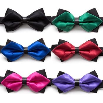 Bowtie Fashion Solid Bow Tie Men Necktie Adjustable Butterfly Double Deck Neckwear Luxurious Gift Dress Shirt Ties