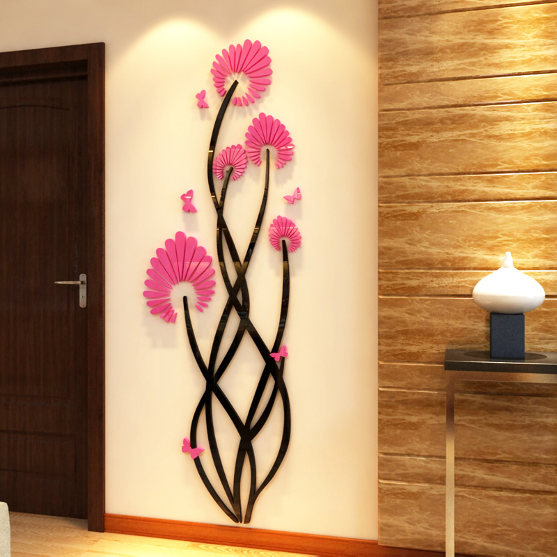 Creative Art flowers Acrylic wall stickers Living room DIY art wall decor stickers Entrance romantic mirror wall decoration