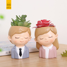 RUX WORKSHOP Flowerpot Plant Pot Cute Girl Boy Flower Planter Home Garden Mini Bonsai Cactus Wedding Birthday Gift