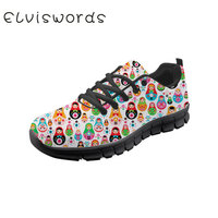 Women's Casual Shoes Russian Matryoshka Printed Cute Fashion Lace up Ladies Sneaker Lightweight Flat Sport Shoes Students