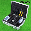 KELUSHI 13pcs Fiber Optic FTTH Tool Kit with HS-30 Fiber Cable Cleaver,Optical Fiber Stripper Tool Storage Box Alcohol Bottles