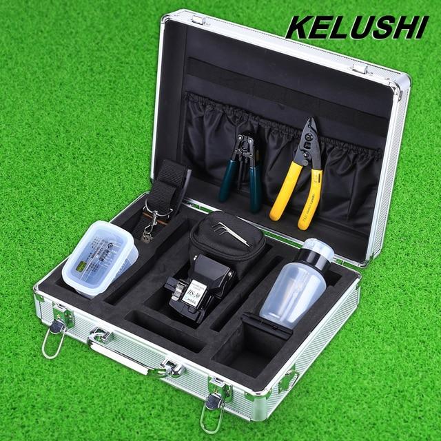 KELUSHI 13pcs Fiber Optic FTTH Tool Kit with HS-30 Fiber Cable Cleaver,Optical Fiber Stripper Tool Storage Box Alcohol Bottles