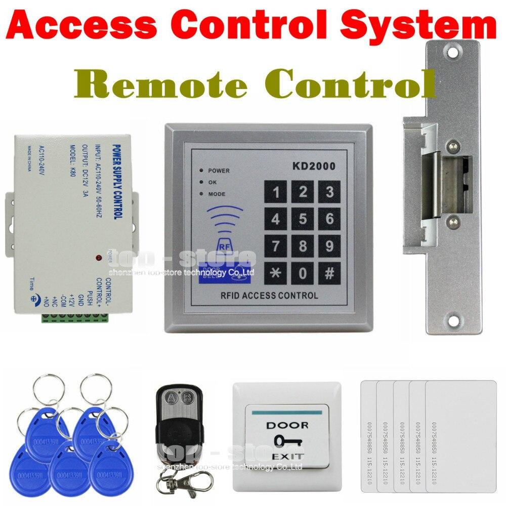 DIYSECUR Full Kit Set 125KHz RFID Keypad Access Control System Security Kit + Electric Strike Lock KD2000