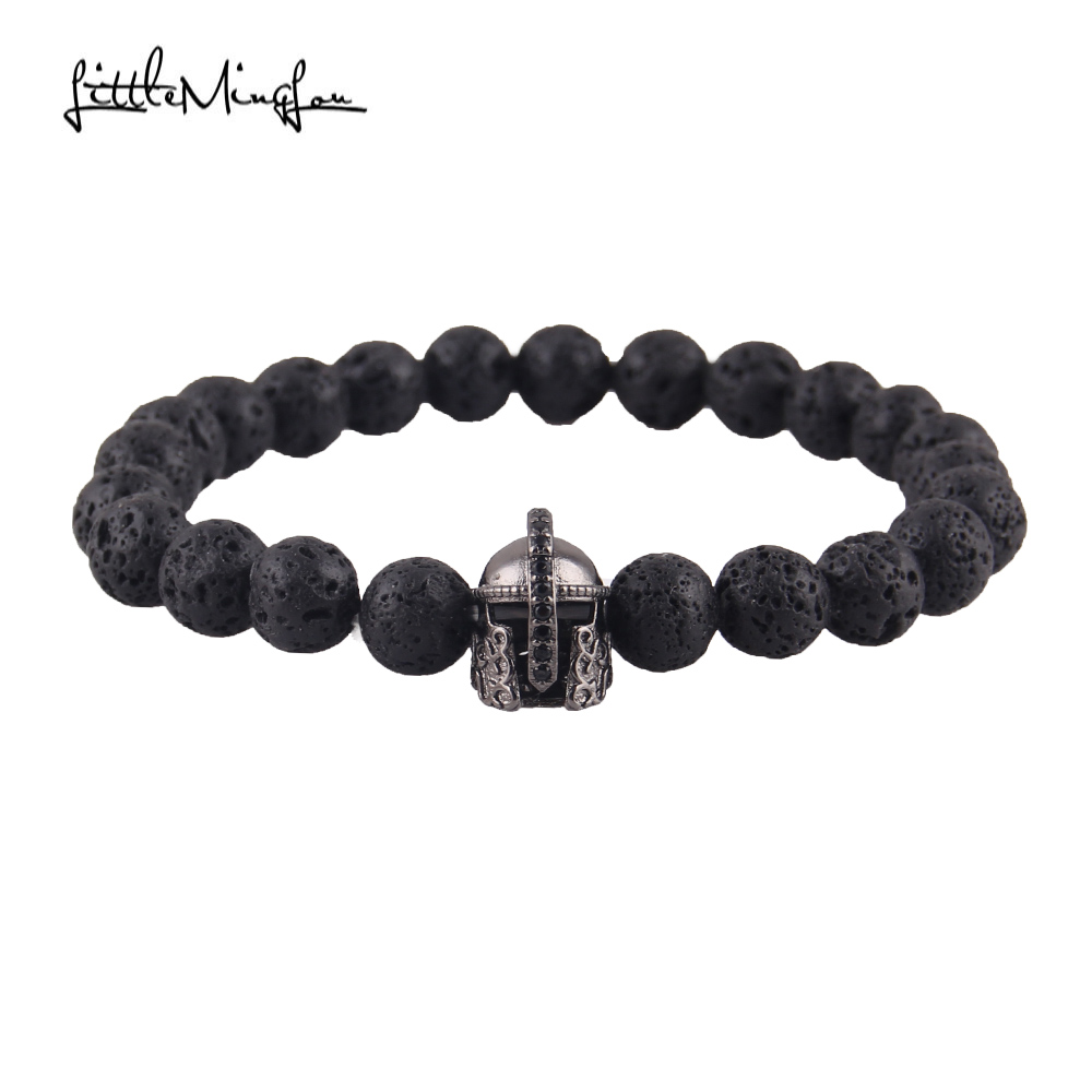 Little MingLou New Fashion Men bead Bracelet Pave CZ & Warrior Helmet 8mm Lava Stone Strand Bracelets Jewelry pulsera hombres