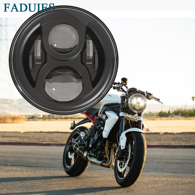 FADUIES 7 Round Harley Daymaker LED Projection Headlight for Harley Motorcycles Fat Boy FLSTF Lo FLSTFB Touring Trike Softail partol 7 round led projector black headlight pc lens with drl for h d fld trike touring softail flhtcuse 7 sealed beam