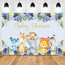 Safari Baby Shower Backdrop Cute Elephant Jungle Animal Flower Photography Background Newborn Party Decoration Backdrops