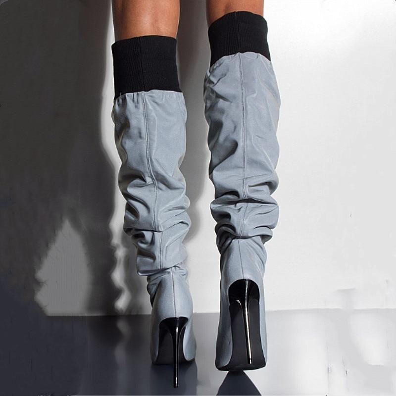Style Tricot Côtes À Picture Stilettos Mode Ample Designer Hauts Bande Hautes Femmes Patchwork Pointu Dames as Chaussures Talons Picture As Bottes Bout 6r6d5qw