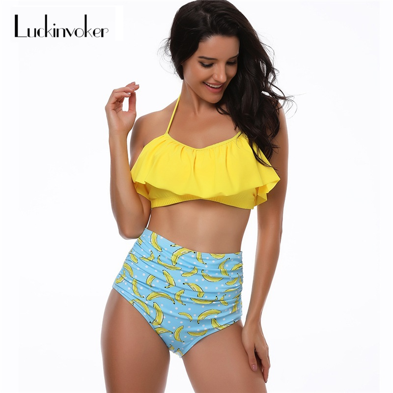 купить Bikini High Waist S-XL Swimsuit Female Halter Bikini Set Women Ruffle Tankini Bathing Suit Vintage Swimmer Retro Swimwear Female недорого
