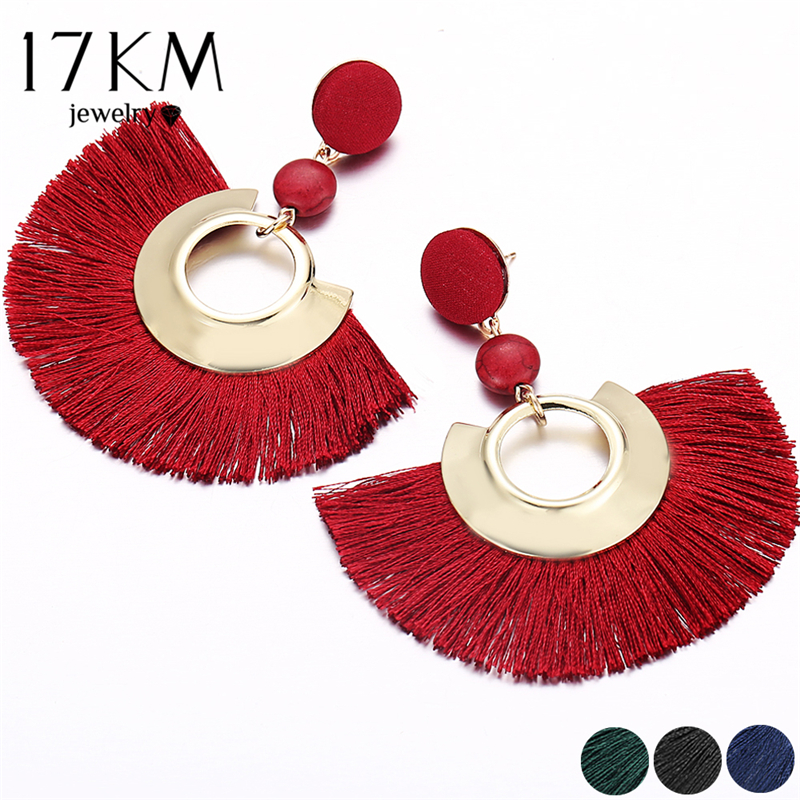 17KM Bohemian Big Tassel Earrings For Women Female Chandelier Earring Handmade Brincos Statement Fashion Jewelry Wholesale 2018
