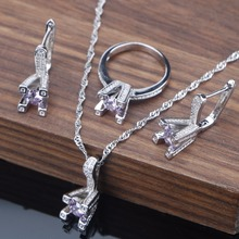 Women's White Zircon Inlaid Silver Jewelry Set