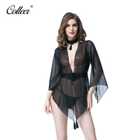 COLLEER New Transparent Lace Sexy Hollow Vest Deep V Teddy Hot Shapers Panty Bodysuit Women Underwear