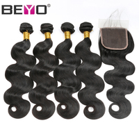 Beyo Body Wave 4 Bundles With Lace Closure Brazilian Hair Weave Bundles Non Remy Hair Extensions Human Hair Bundles With Closure