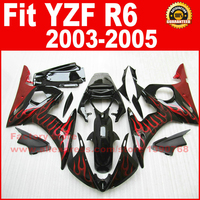 Moto parts for YAMAHA YZF-R6 fairing kits 2003 2004 2005 red flame in black YZF R6 motorcycle fairings set body kit 03 04 05