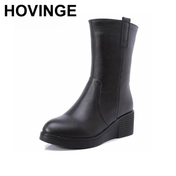 HOVINGE  Women's Winter Shoes Natural Wool Genuine Leather Women Winter Boot High Quality Knee High Boots