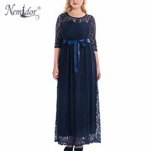 Nemidor High Quality Women Elegant O-neck Party Belted Lace Dress Plus Size 7XL 8XL 9XL Half Sleeve Summer Long Maxi Dress