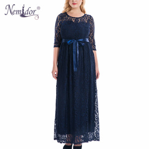 Image 2 - Nemidor High Quality Women Elegant O neck Party Full Lace Dress Plus Size 7XL 8XL 9XL 3/4 Sleeve Vintage Wedding Long Maxi Dress