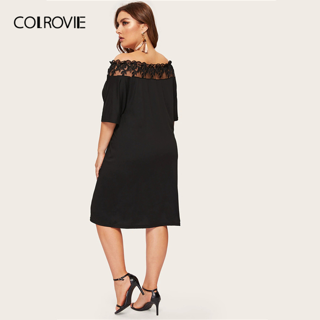 COLROVIE Plus Size Black Off The Shoulder Contrast Mesh Elegant Dress Women 2019 Summer Short Sleeve Knee Length Party Dresses 1