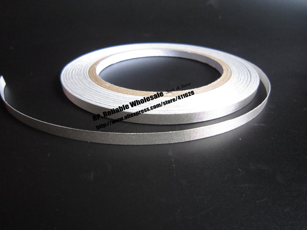 1x 6mm* 20 meters Conductive Fabric Cloth Tape, Silvery Plain, Single Adhesive for Laptop Cellphone Cable EMI Shielding
