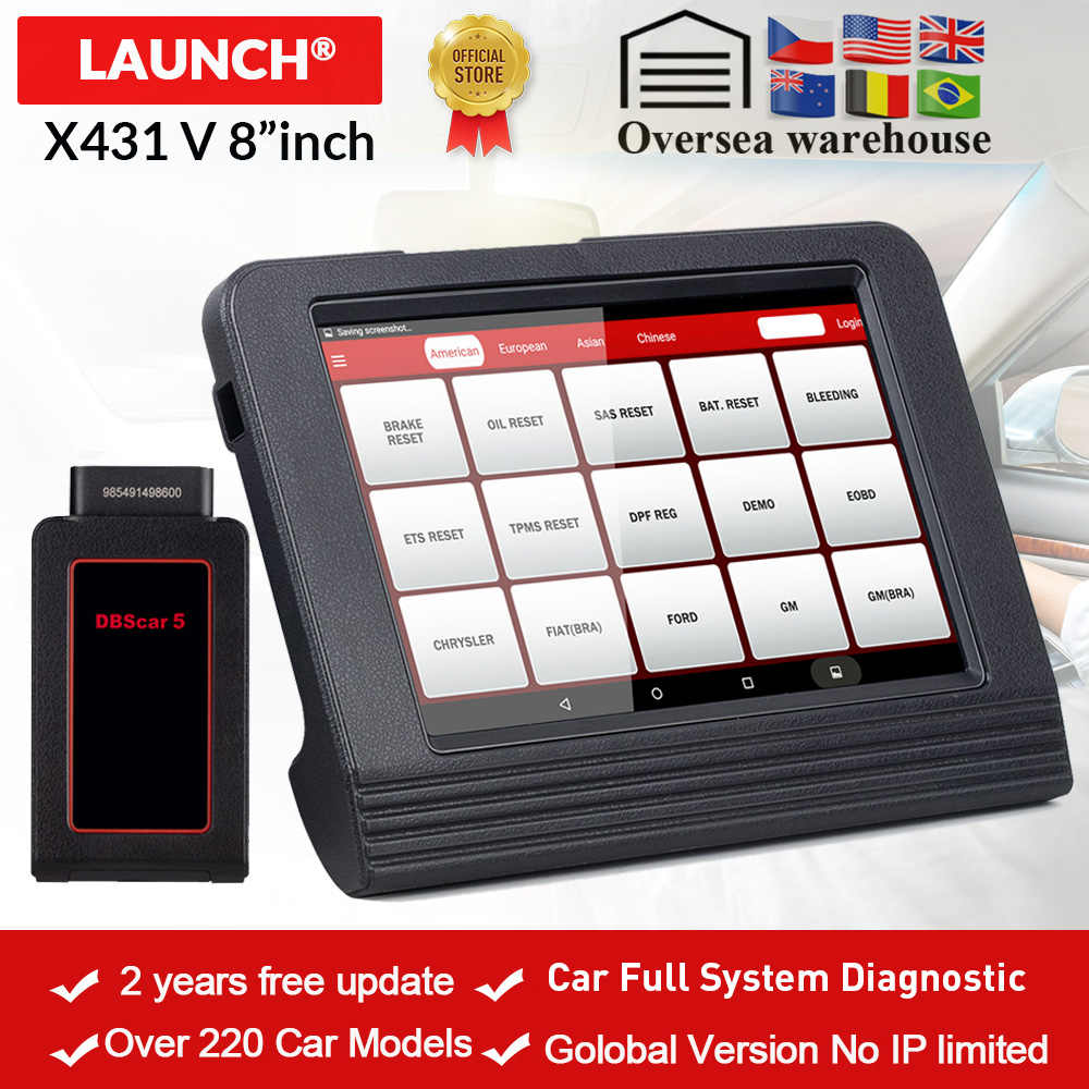 LAUNCH X431 V 8'inch Global Version Full System Diagnostic-Tool X-431 V Bluetooth/Wifi OBD2 Scan tool used in 200+ countries