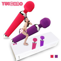 YUECHAO USB Rechargeable 15 Speed AV Magic Wand Vibrator Massager G Spot Oral Clit Vibrators for Women Adult Sex Products Toys