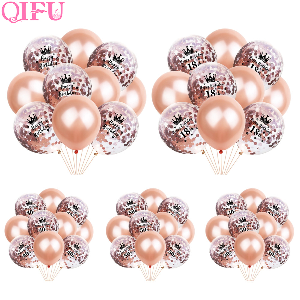 QIFU Rose Gold 30th Balloon 40th Ballons 50th Happy Birthday Number Black Party Supplies