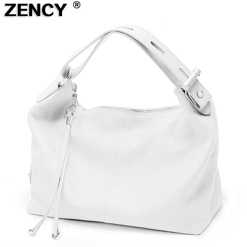 ZENCY 100% ორიგინალური ტყავის ქალთა ჩანთა ზედა სახელური ჩანთა Real Cowhide ქალბატონების ყოველდღიური Tote Shoulder თეთრი ვერცხლისფერი ნაცრისფერი წითელი ჩანთები