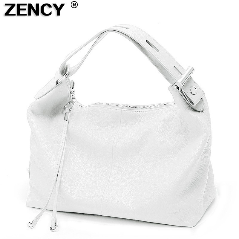 ZENCY Silver Hardware 100% Genuine Leather Women OL Handbag Extendable Handle Cowhide Ladies Classic Tote Shoulder White Bags