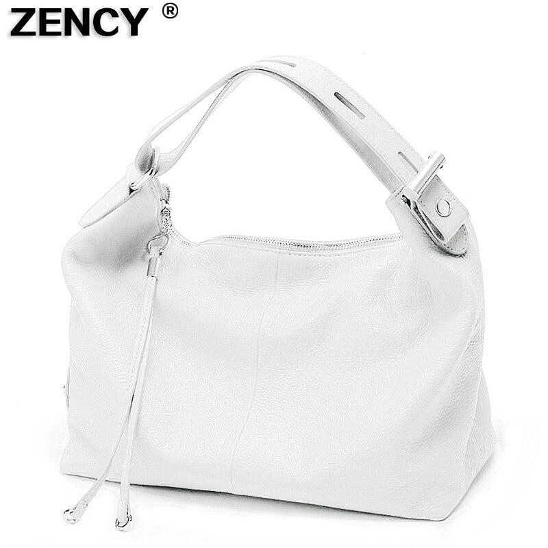 ZENCY Silver Hardware 100% Genuine Leather Women OL Handbag Extendable Handle Cowhide Ladies Classic Tote Shoulder White Bags